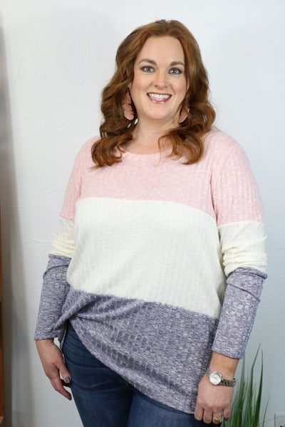 Searching for You Ribbed Pink, Ivory and Navy Colorblock Hacci Long Sleeve Top - Sizes 4-20
