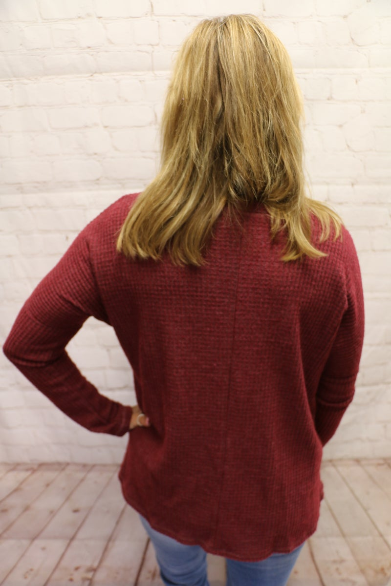 Simply Perfect Waffle Knit Lone Sleeve Top with Knotted Hem in Multiple Colors- Sizes 4-20