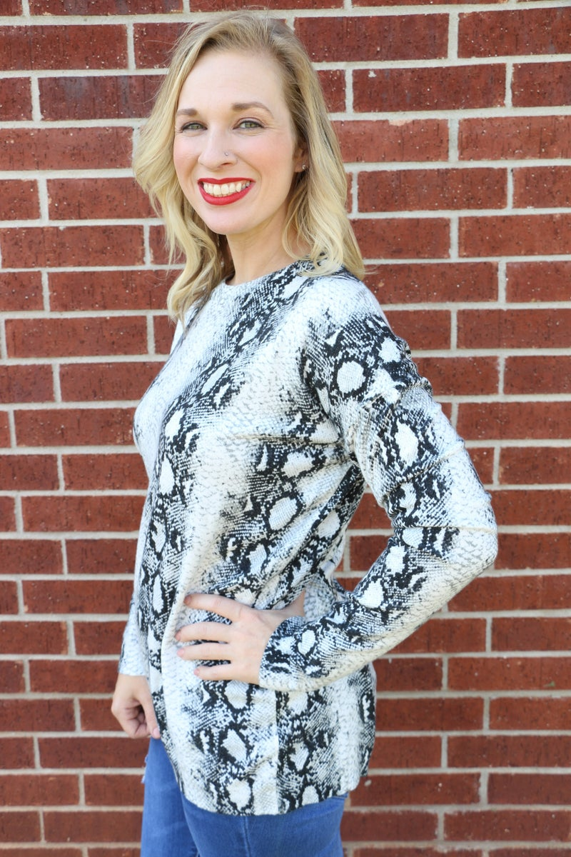 So Much Class Snakeskin Sweater- Sizes 4-10