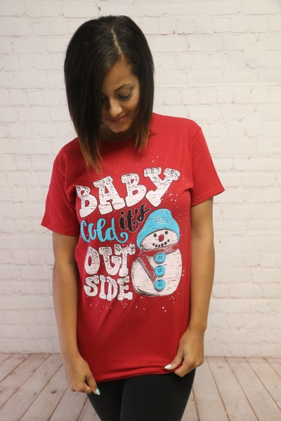 Baby It's Cold Outside Snowman Tee in Red - Sizes 4-20