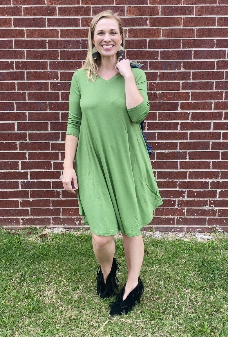 Time For Fall Quarter Sleeve Dress With Pockets In Multiple Colors- Sizes 4-20