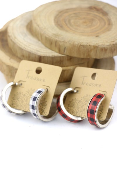 Here We Go Buffalo Plaid Hoop Earrings In Multiple Colors