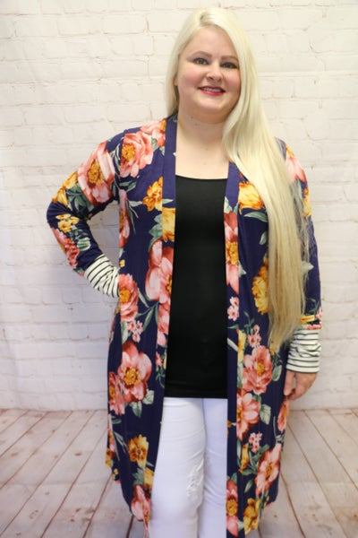 Stop and Smell the Flowers Navy Floral Cardigan with Accent Striped Cuff - Sizes 4-10