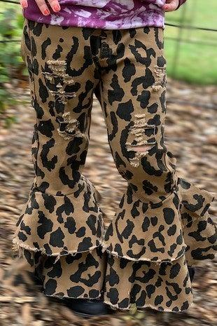 Little Sassy Pants Leopard Bell Bottom Kids Pants-Sizes4-5