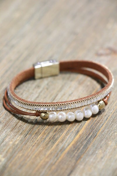 All Good Freshwater Pearl Brown Multi-Strand Magnetic Bracelet