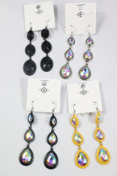 On The Move 3 Tiered Teardrop Earring In Multiple Colors