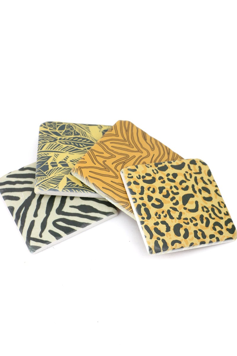 Set of 4 Animal Print Absorbent Coasters