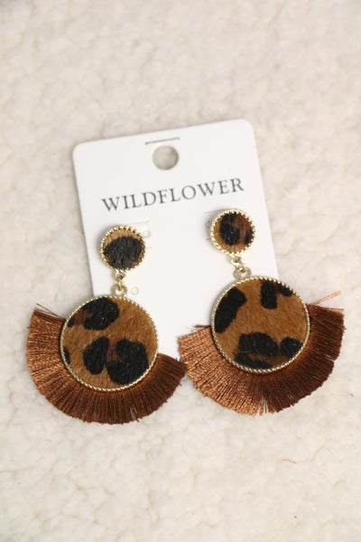 Game Day Leopard DoublCircle Earring With Brown Fringe