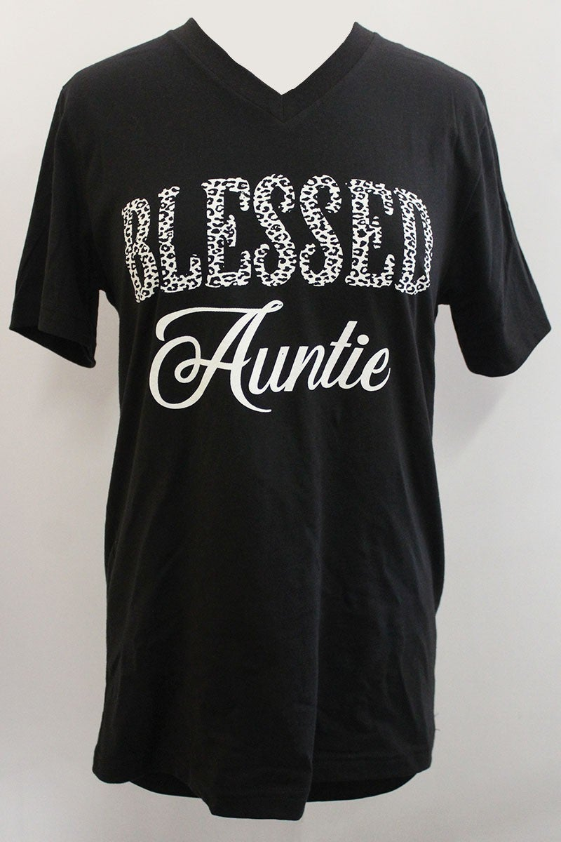 Blessed Auntie Cheetah Graphic Tee In Black - Sizes 4-18