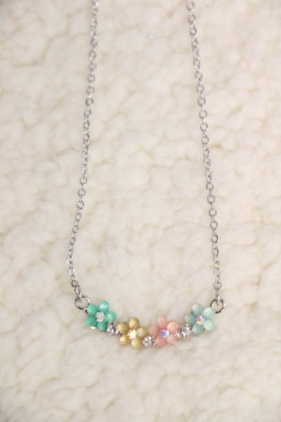 Ever So Sweet Silver Necklace With Pastel Crystal Flowers