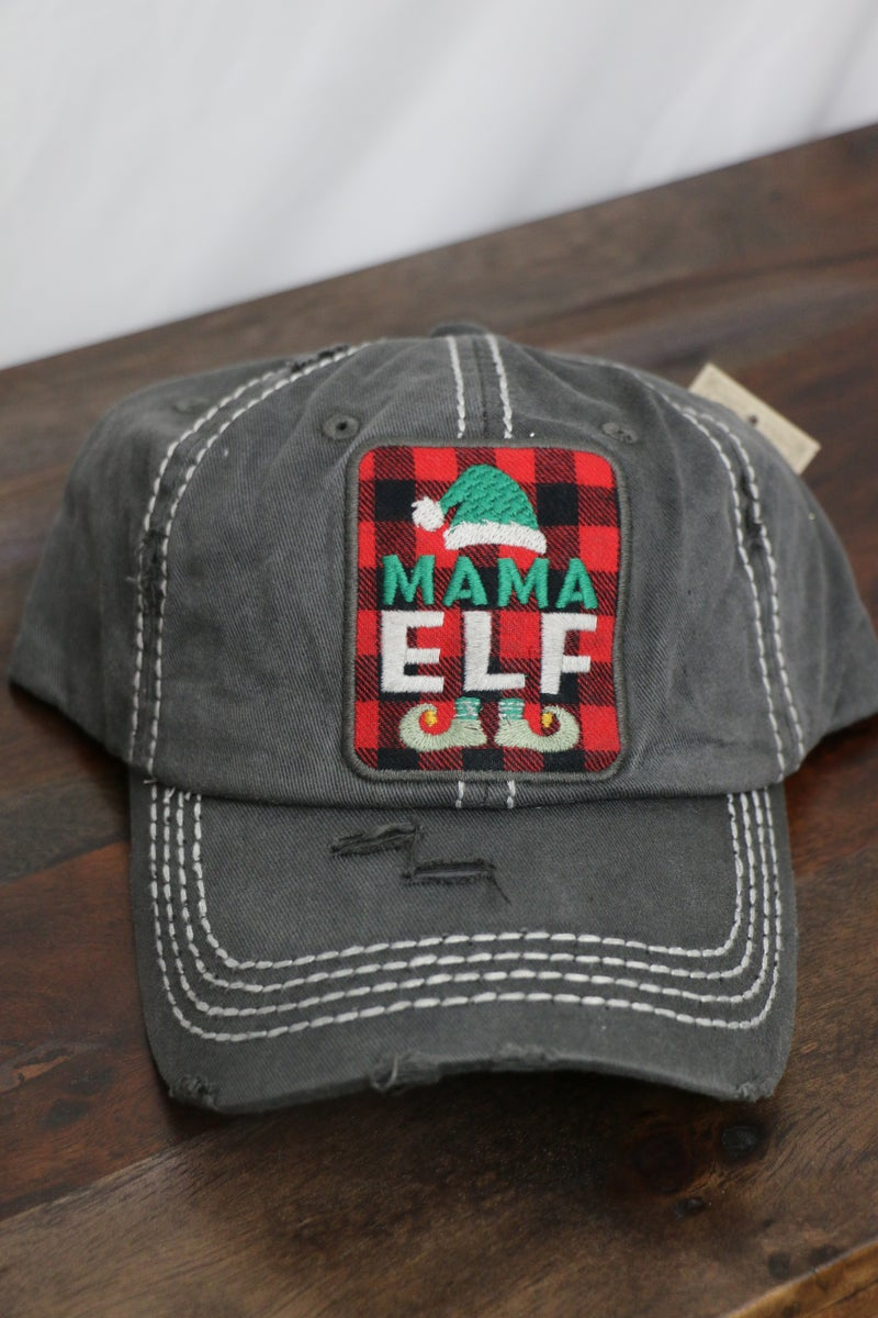 Elf Mom with Buffalo Plaid Ballcap in Multiple Colors