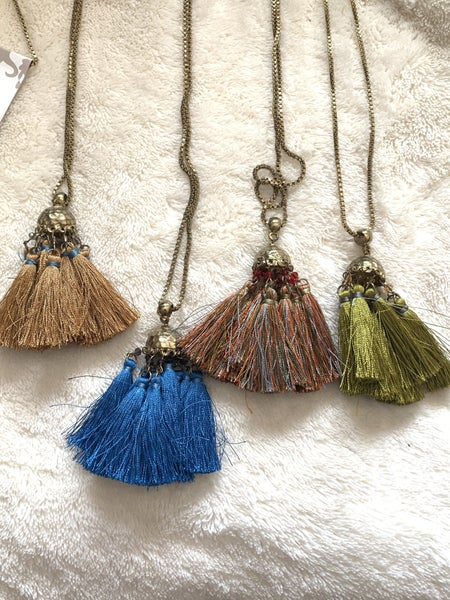 Fair Enough Long Gold Necklace With Multi-tassel Pendant In Multiple Colors