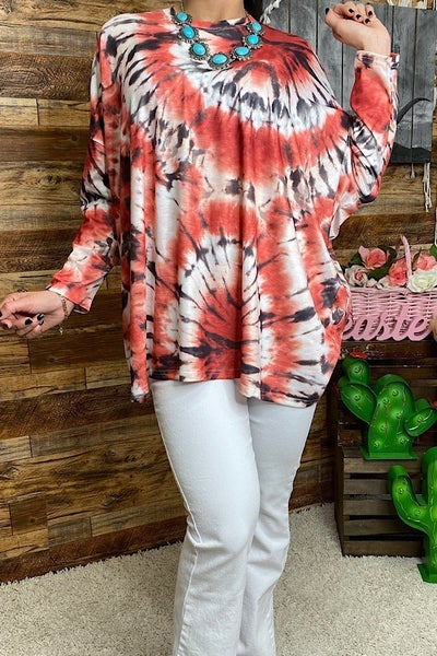 Love You All the Ways Red and Black Oversized Tie Dye Top - Sizes 4-20