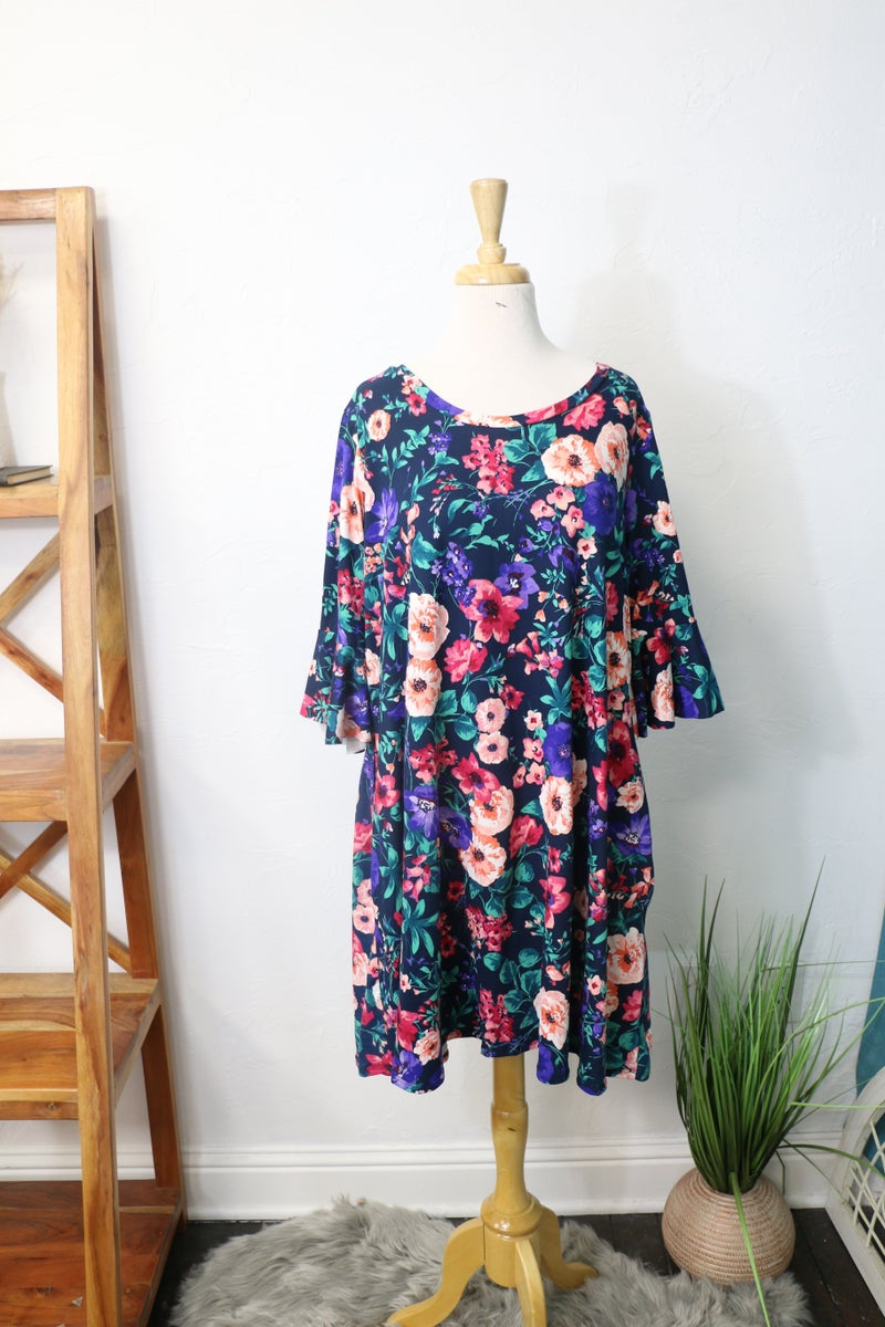 We're Together Navy Floral Bell Sleeve Dress - Sizes 12-20