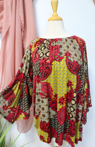 For The Win Multi-Print Paisley Bell Sleeve Top - Sizes 12-20