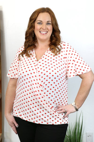 It's the Little Things Polka Dot Surplice Top in Multiple Colors - Sizes 4-20
