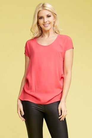 Next to You Short Sleeve Top with Side Pin Tuck Detail in Multiple Colors - Sizes 4-20