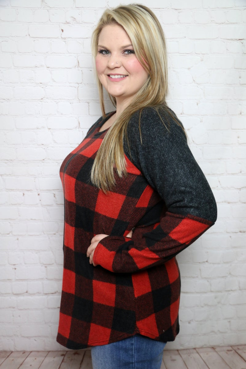 Forever Grateful Red Buffalo Check Long Sleeve Top - Sizes 12-20