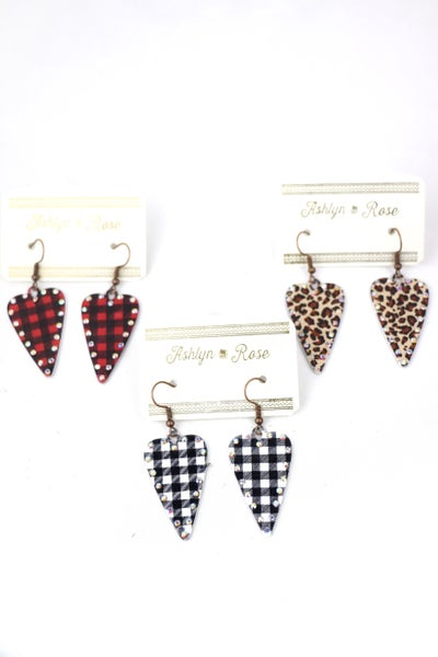 Have A Heart Metal Heart Earring With Crystal Border In Multiple Colors