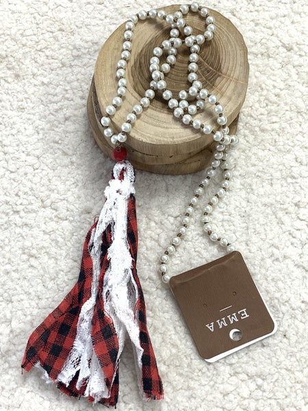 All Dressed Up Long Pearl Necklace With Red Buffalo Plaid Tassel