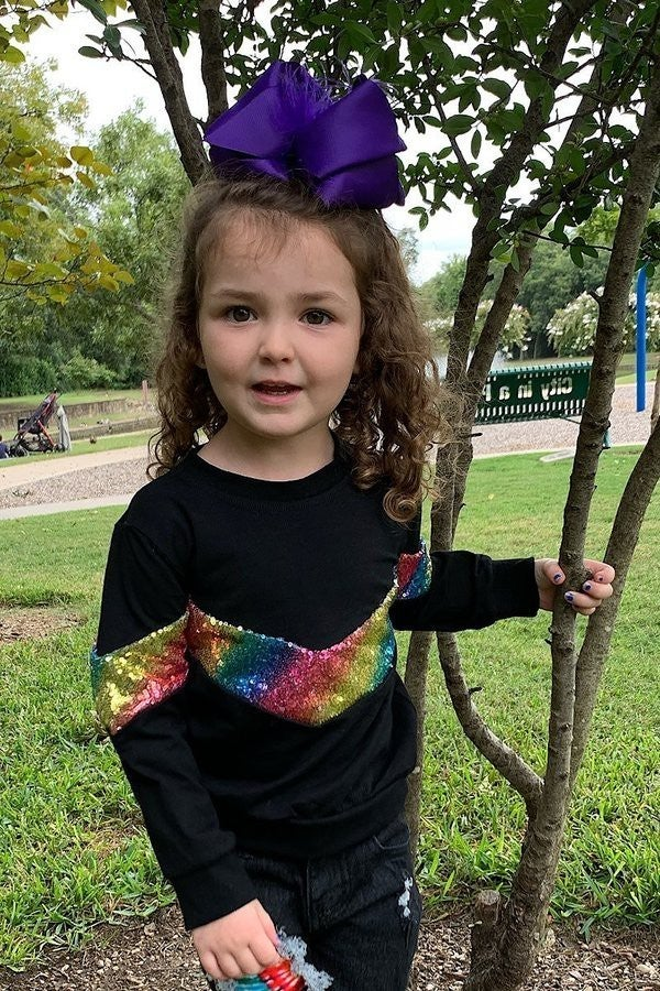 Sparkle of My Eye Black Top with Colorful Sequin Chevron - Sizes 6MO - 8YR