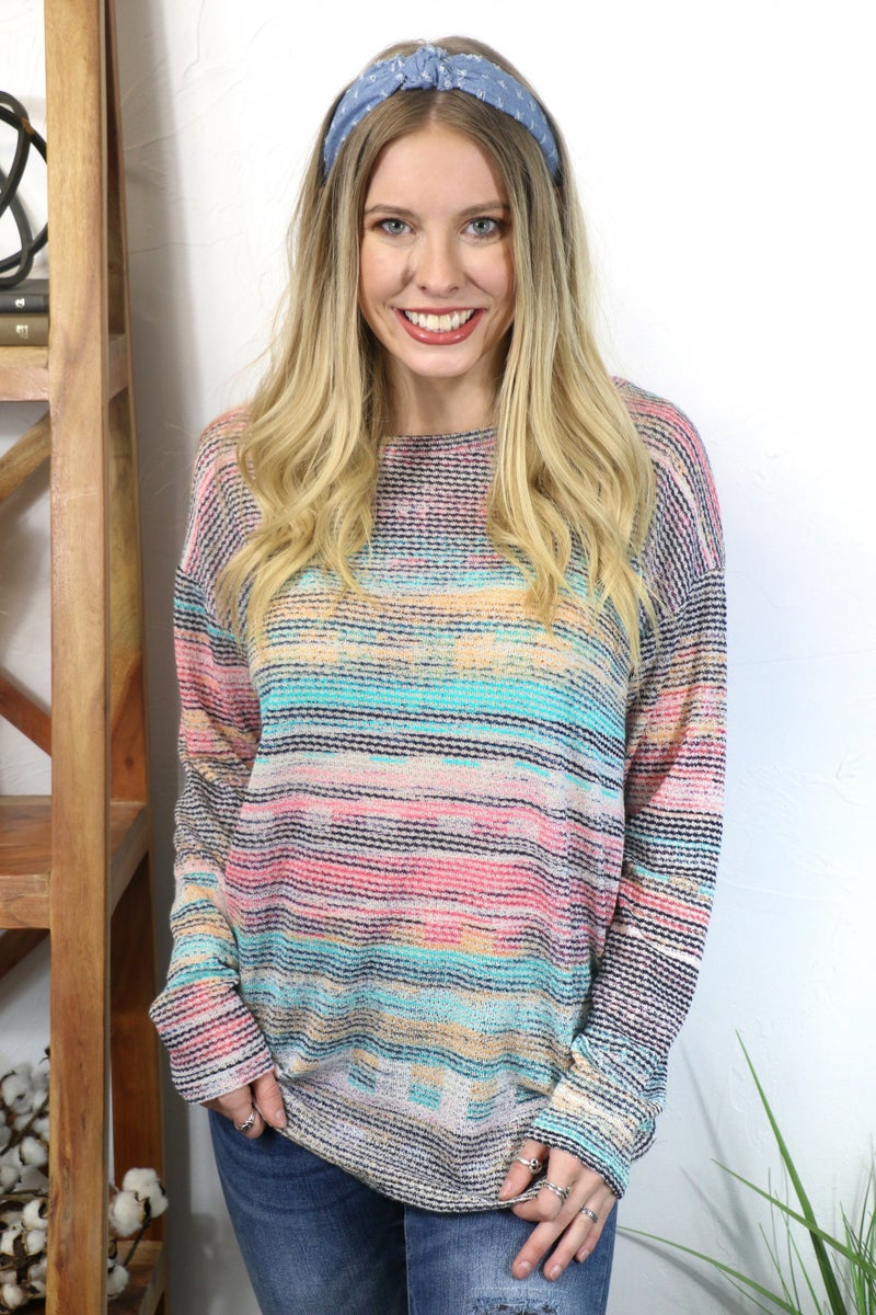 Walking in a Dream Multicolored Hacci Long Sleeve Top - Sizes 4-10