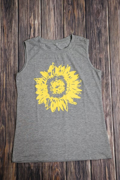 Summer's Here Sunflower Tank Top in Gray - Sizes 4-12