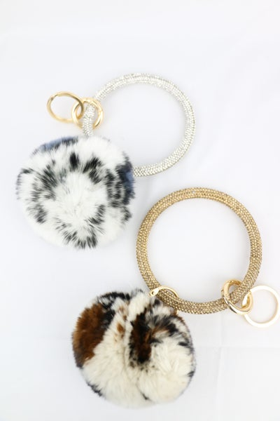 On The Farm Leopard Print Pom Pom And Glitter Key Ring In Multiple Colors