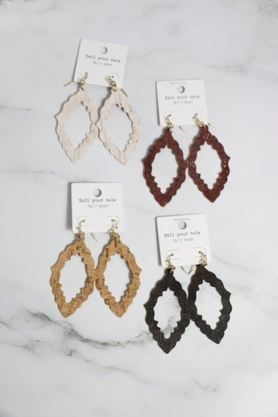 On Your Side Moroccan Shape Cutout Cork Earring In Multiple Colors