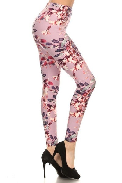 He Loves Me Lilac Floral Print Legging - Sizes 4-20