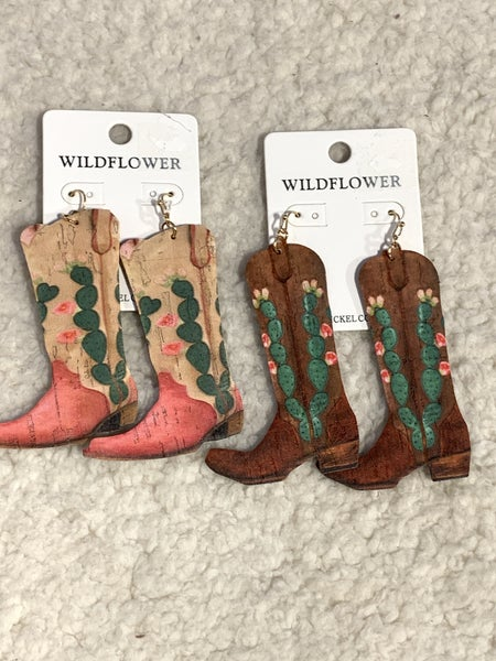 Kicking Around Cork Cowboy Boot Earring In Multiple Colors
