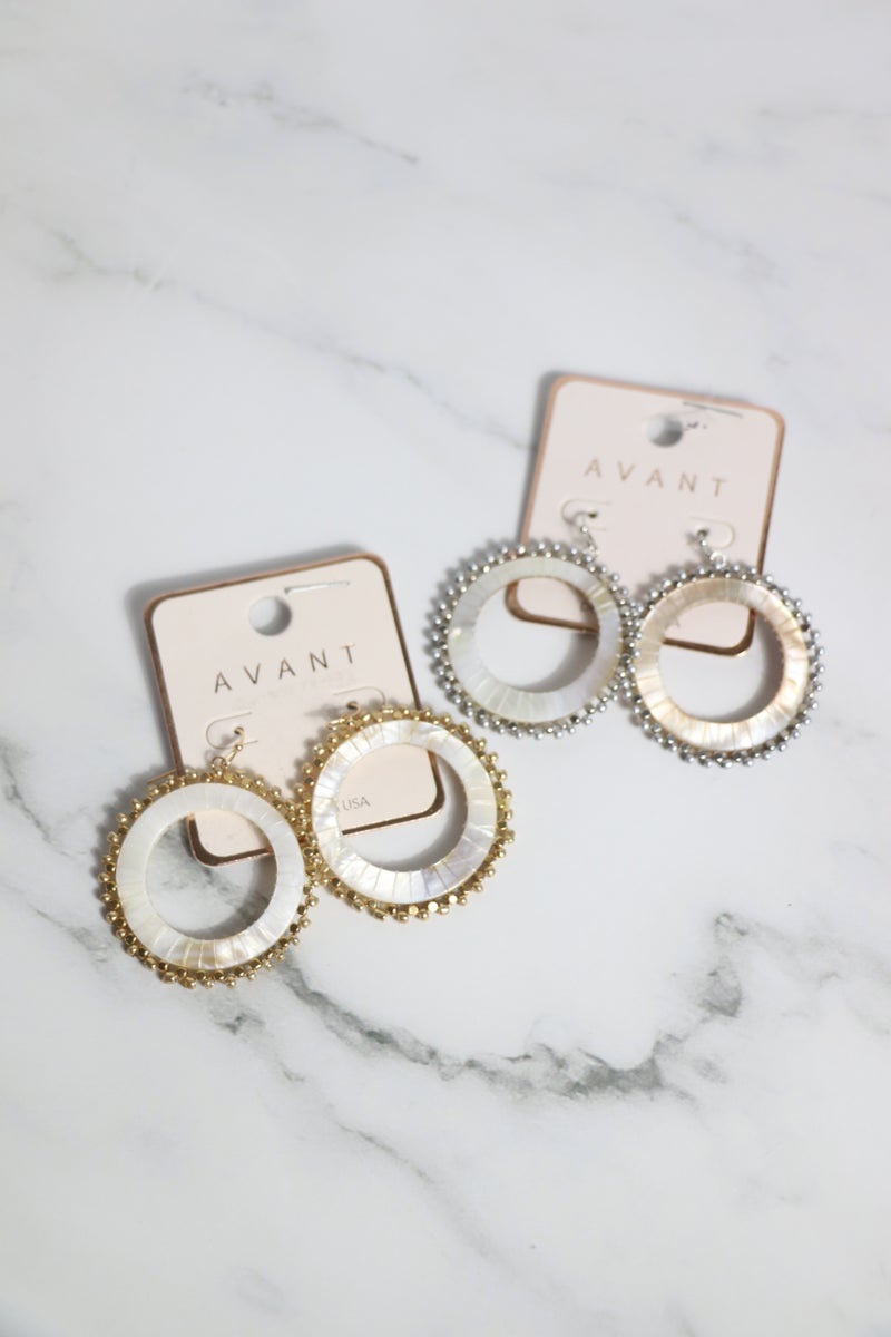 Running Late Mother Of Pearl Circle Earring With Beaded Border In Multiple Colors