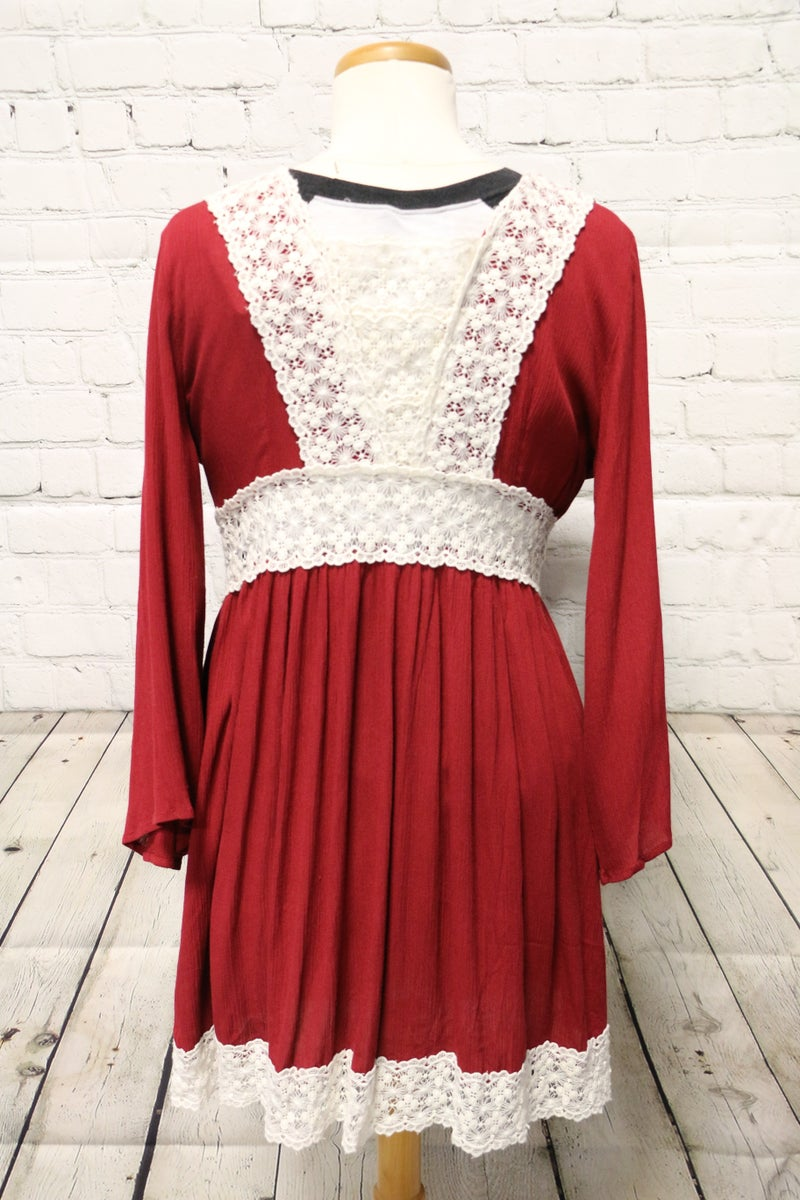All My Life Crimson Cardigan With Crochet Accent - Size Small
