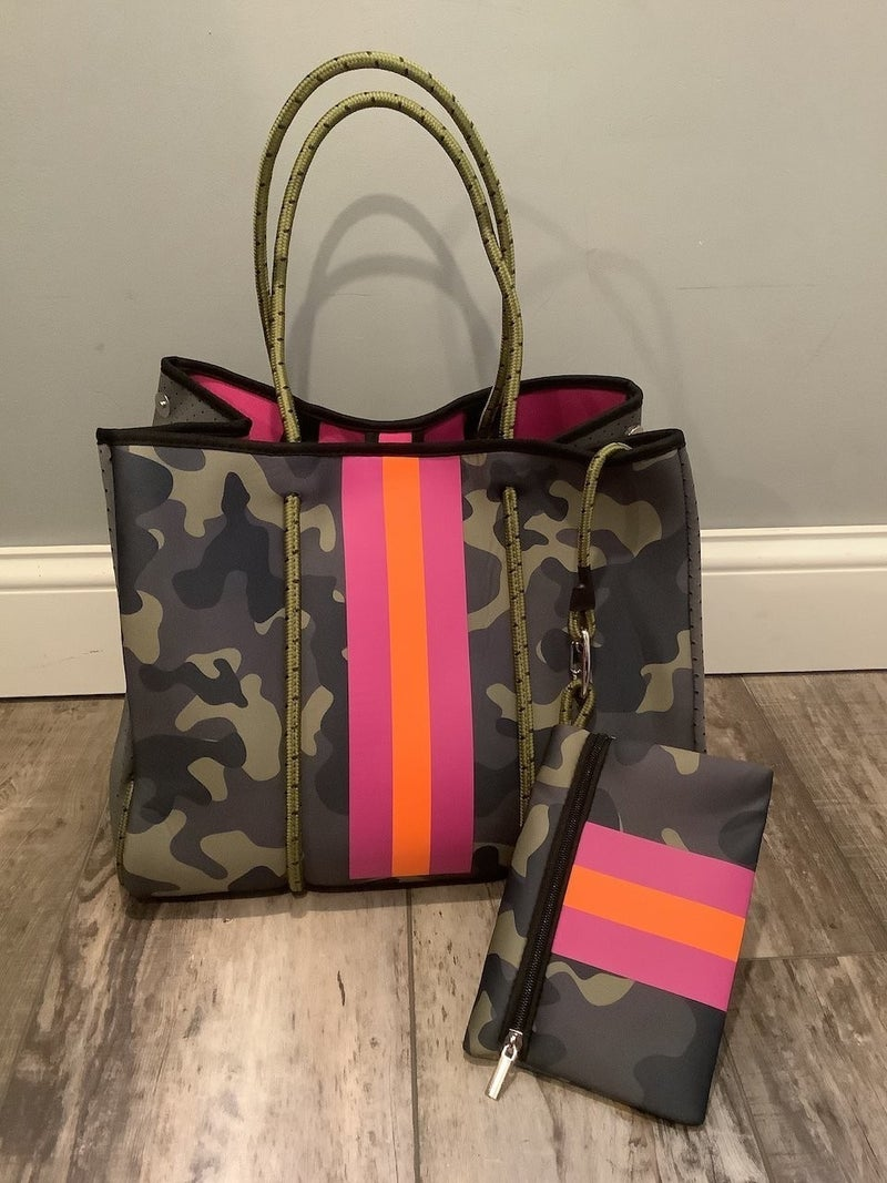 Searching for You Camo Neoprene Tote Bag with Pink & Orange Accent with Matching Wallet