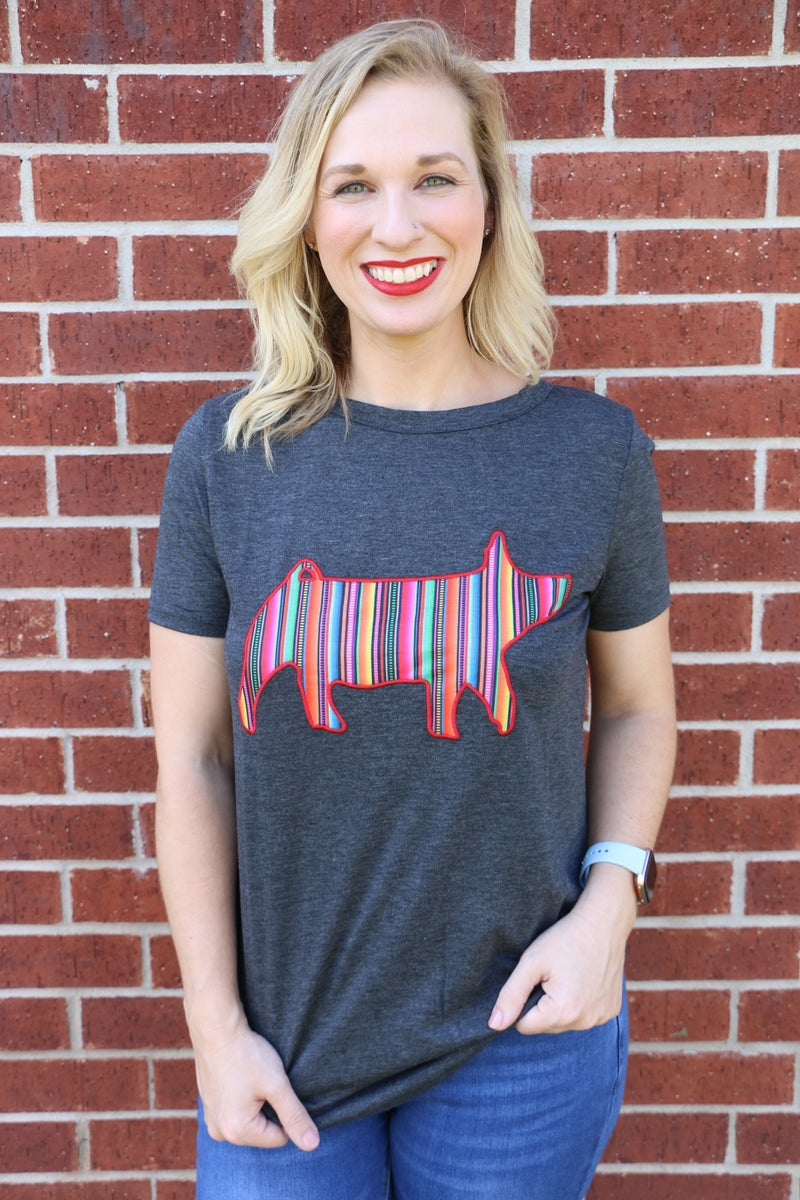 You're a Blessing Serape Pig Shirt Sleeve Charcoal Top - Sizes 4-18