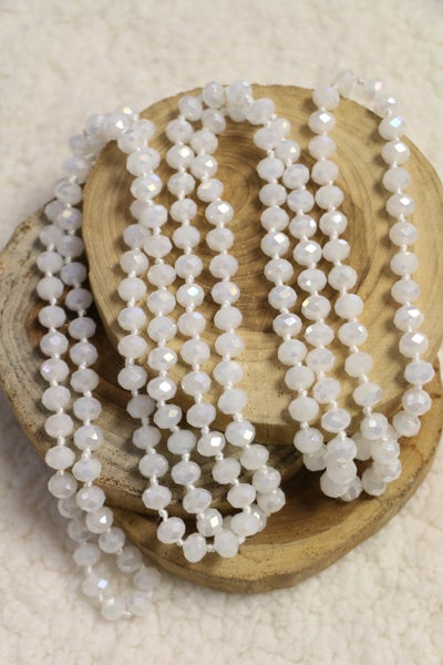 Point Of Perfection Beaded Necklace In Crystal White