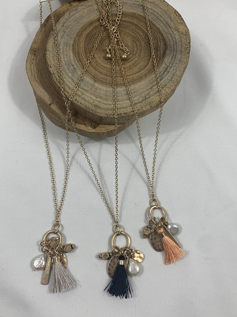 Stuck In The Middle Gold Hoop Necklace With Tassel, Pearl And Gold Disc Charms In Multiple Colors