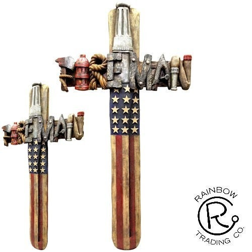 Fireman & Police American Flag Resin Cross
