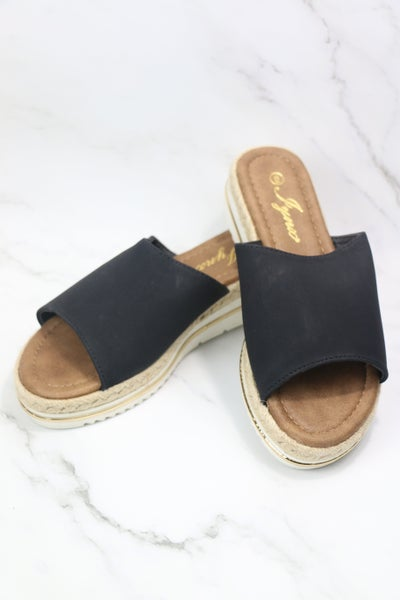 In Your Favor Slip-On Wedge Sandal in Black