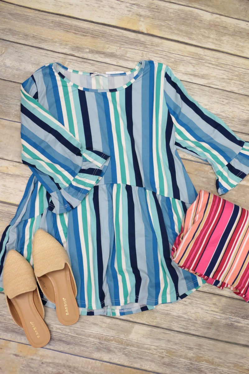 Hide Away Striped Babydoll Top With Ruffle Sleeve In Multiple Colors- Sizes 12-20