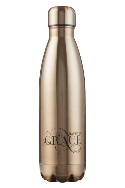 Saved By Grace, Ephesians 2:8, Gold Stainless Steel Water Bottle