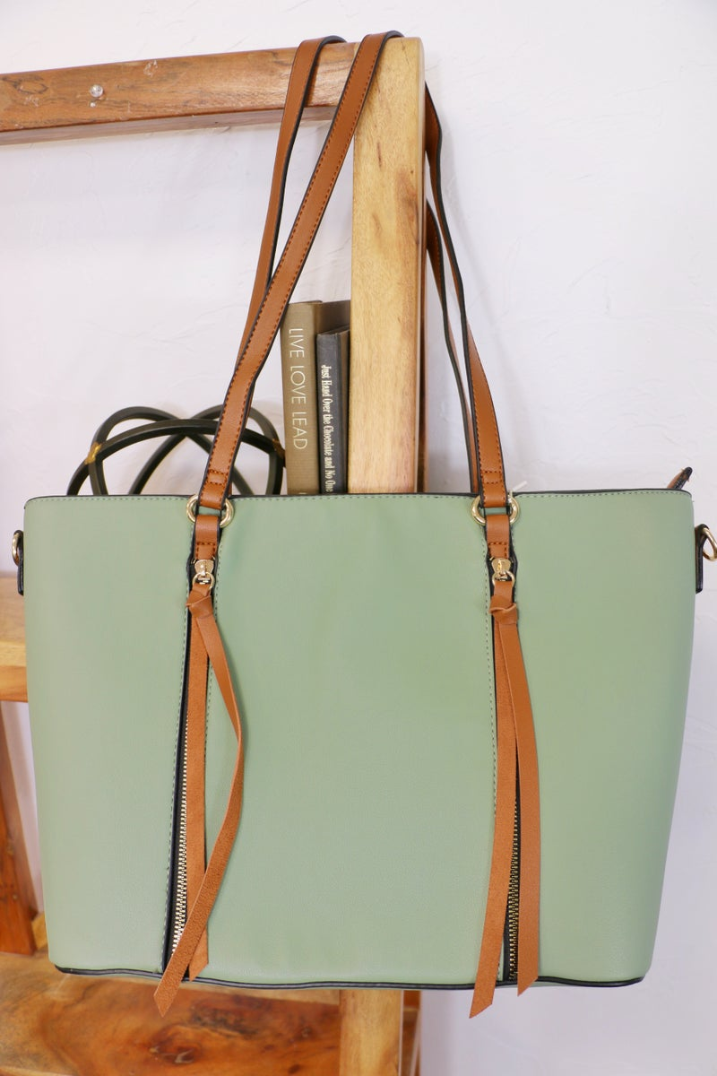 All The Days Tote Satchel Bag With Matching Wallet In Multiple Colors