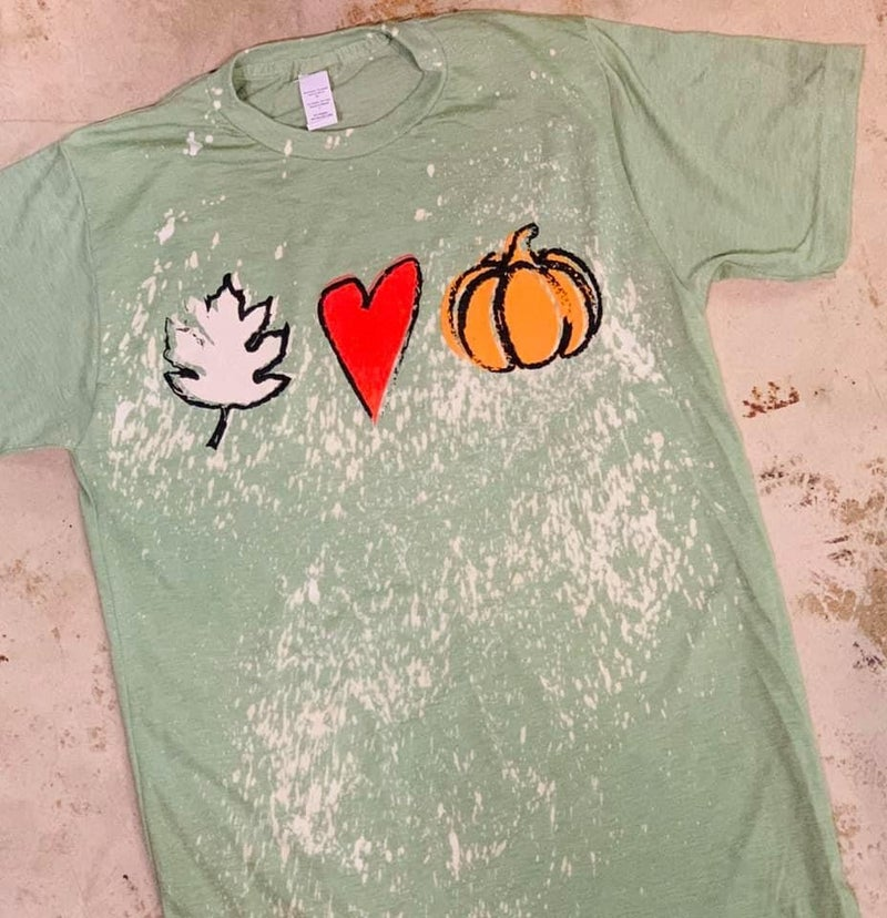 Leaf, Heart, Pumpkin Splatter Bleached Graphic Tee in Multiple Colors - Sizes 4-18