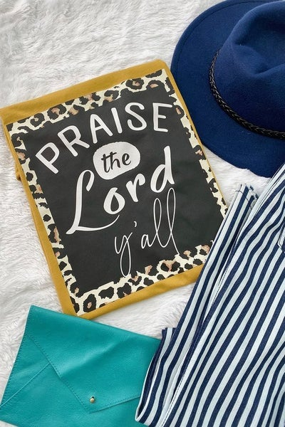 Praise the Lord Y'all with Leopard Accent Graphic Tee in Multiple Colors - Sizes 4-20