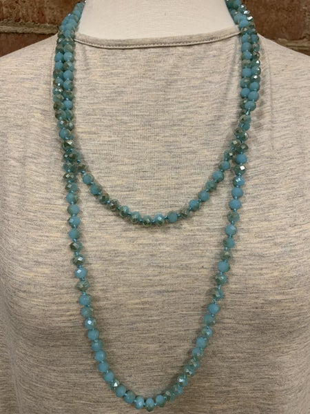 Blue Green Point Of Perfection Beaded Necklace