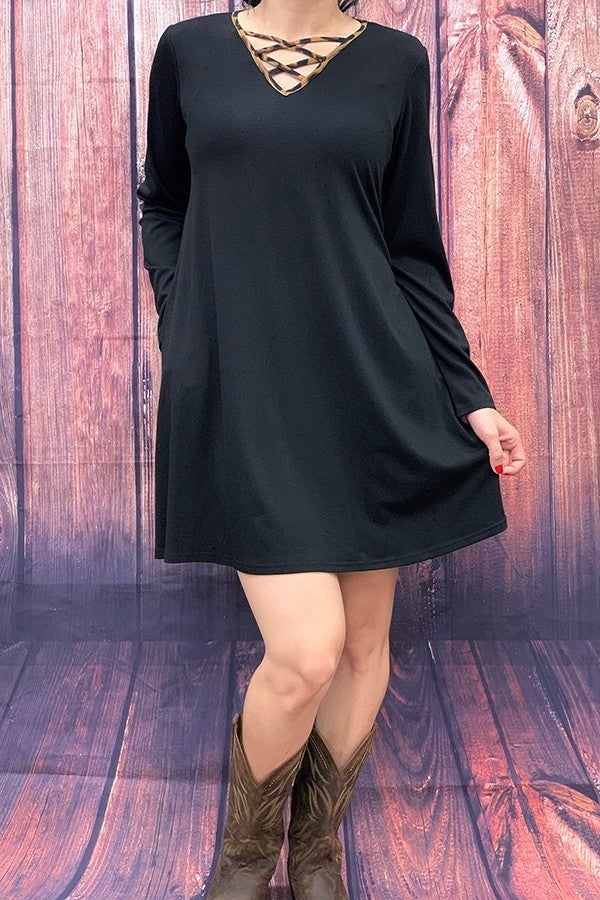 Find Peace Solid  Three Quarter Sleeve Dress with Leopard Criss Cross Neck Line in Multiple Colors - Sizes 4-20