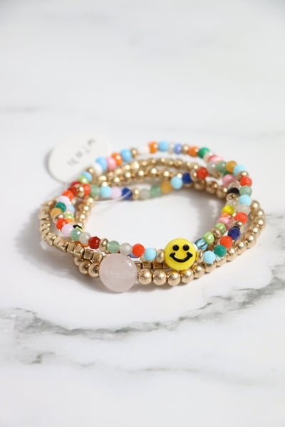 All Smiles 4 Strand Gold And Colorful Bead Stretch Bracelet With Stone And Smiley Face Accent Beads