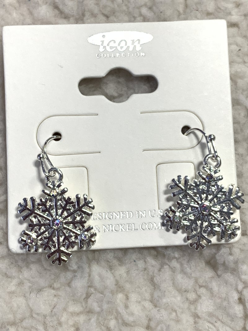 Silver Snowflake Drop Earring With Crystal Detail