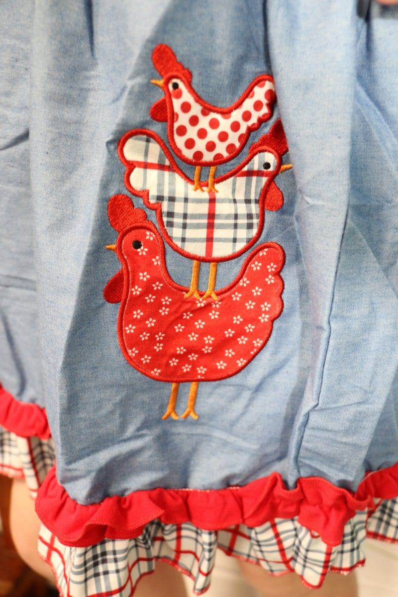 Little Hen Denim and Plaid Dress - Sizes 12M - 8 Y