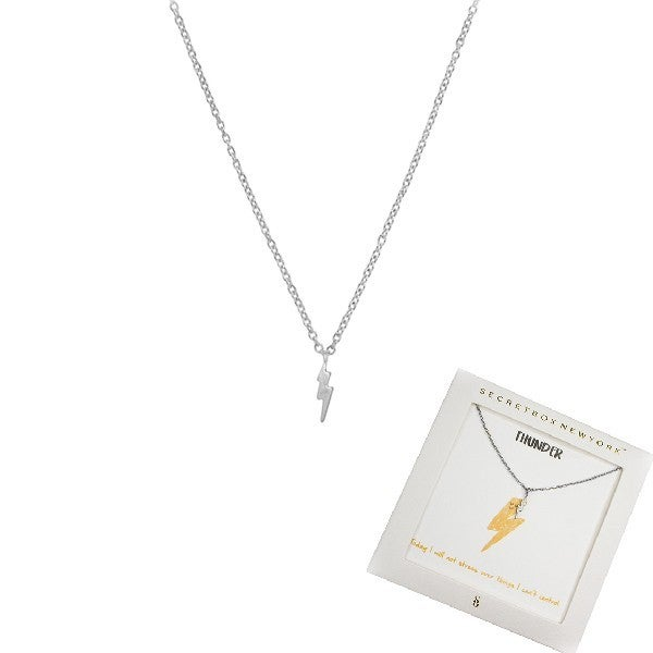 Today I Will Not Stress Over Things I Can't Control Thunder Bolt Necklace in Gift Box